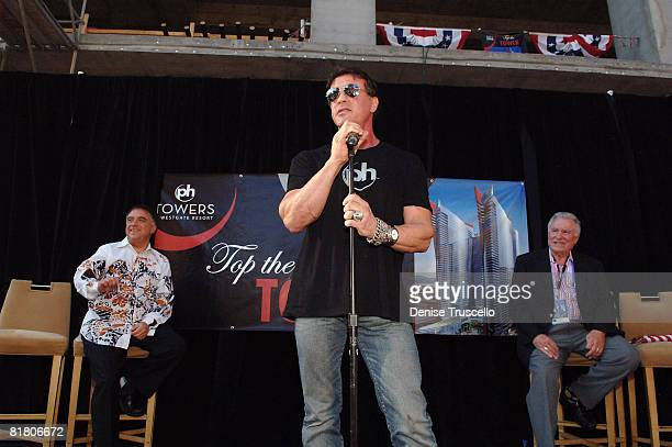 Planet Hollywood CoChairman Robert Earl actor Sylvester Stallone and President and CEO of Westgate David A Siegel attend Planet Hollywood Towers by...