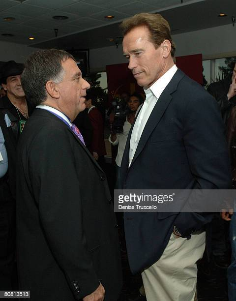Planet Hollywood owner Robert Earl and California Governor Arnold Schwarzenegger attend the Hopkins vs Calzaghe 'Battle of The Planet' PreParty at...