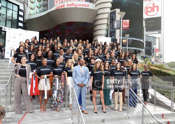 Planet Hollywood Resort Casino Vice President and General Manager Nathan Armogan and reigning Miss Universe Iris Mittenaere and the Miss Universe...