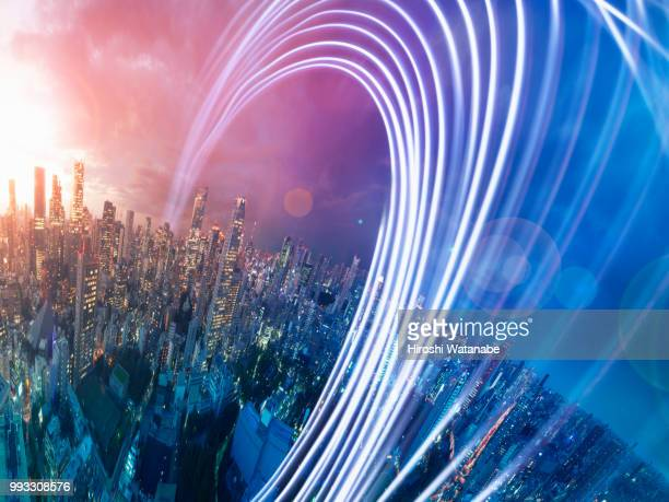 planet shape panorama cityscape with light trail at dusk - crescimento - fotografias e filmes do acervo