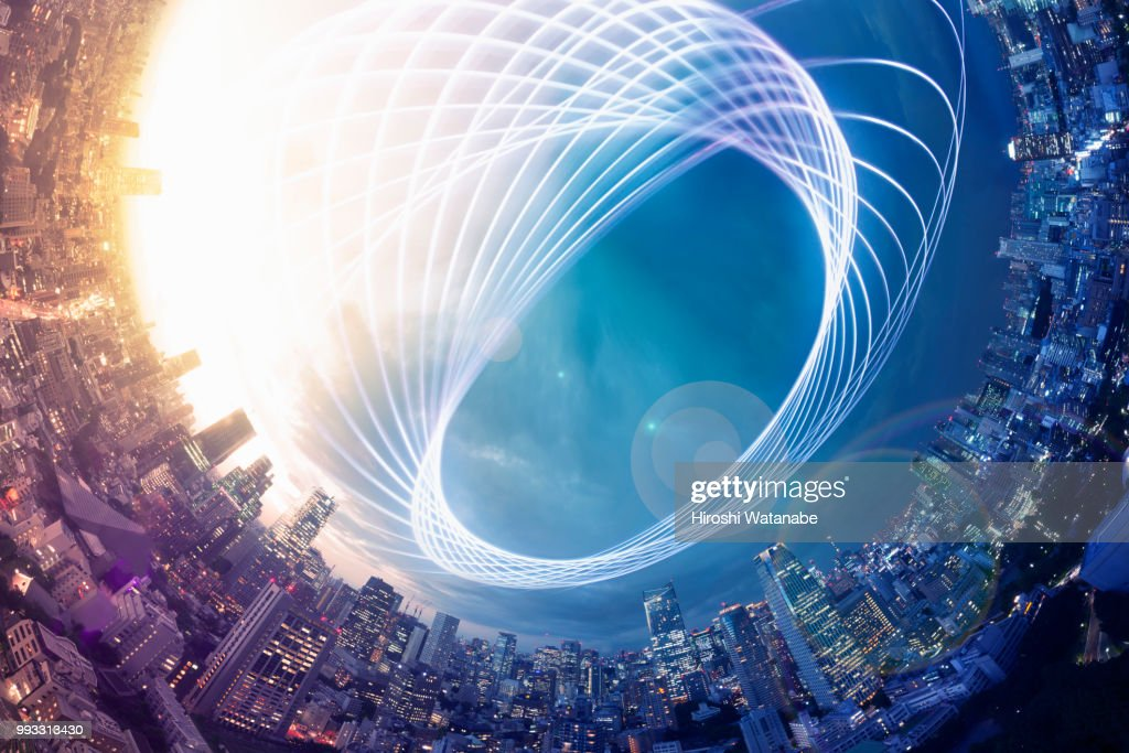 Planet shape panorama cityscape with light trail at dusk : Stock Photo
