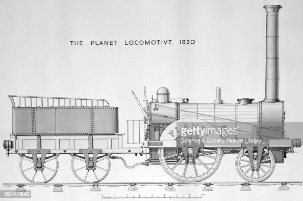 Planet' steam locomotive and tender, 1830. Planet' steam locomotive