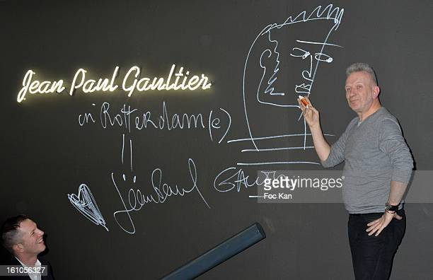 Planete Mode Exhibition commissioner Thierry Maxime Loriot and and Jean Paul Gaultier attend the 'Planete Mode' Exhibition Launch by JeanPaul...