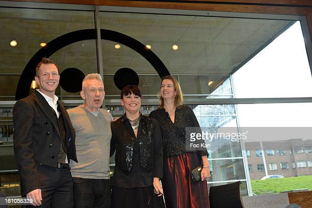 Planete Mode exhibition commissioner Thierry Maxime Loriot Jean Paul Gaultier and Kunstall Museum heads attend the 'Planete Mode' Exhibition Launch...