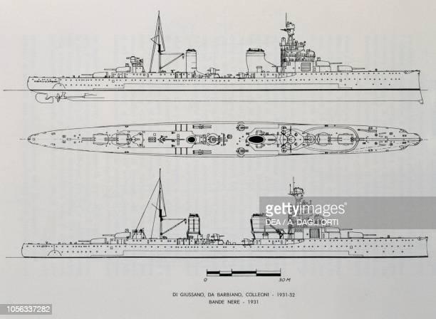 Planimetry of cruisers Alberto da Giussano Alberico da Barbiano Bartolomeo Colleoni and Giovanni delle Bande Nere Italy 20th century