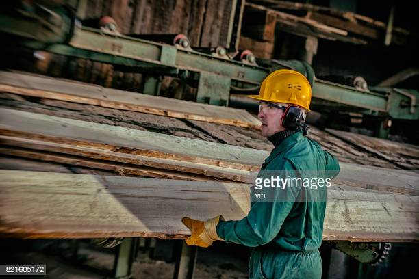 Planks in a sawmill