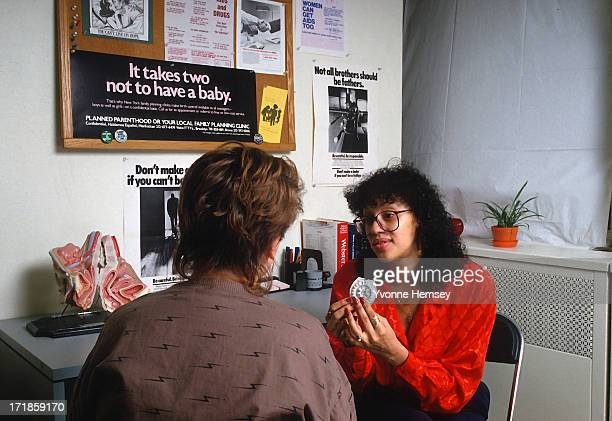 A Planned Parenthood counselor advices a young woman about contraceptives February 3 1988 In New York City