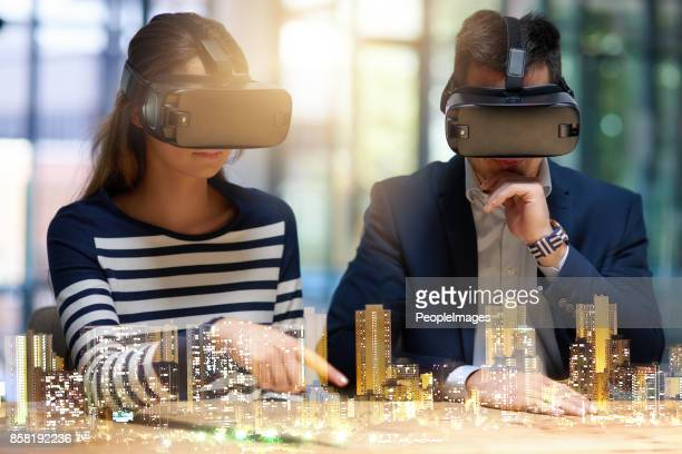 planning for the world of tomorrow - virtual reality simulator stock photos and pictures