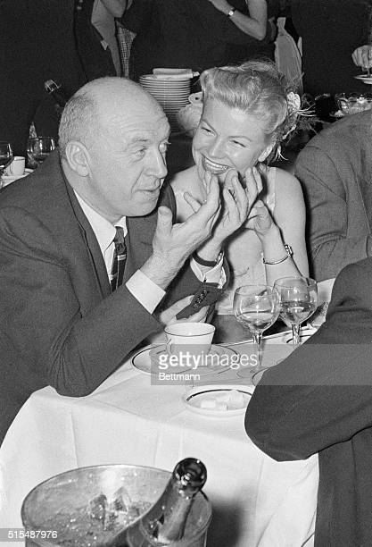 Plans for filming 'Bonjour Tristesse' teenager Francoise Sagan's world bestseller' are discussed over dinner by director Otto Preminger and French...