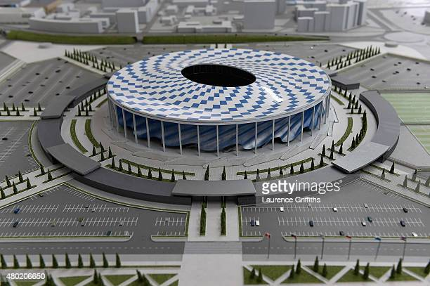 Plans for the Nizhny Novgorod Areana on display during a media tour of Russia 2018 FIFA World Cup venues on July 10 2015 in Nizhny Novgorod Russia
