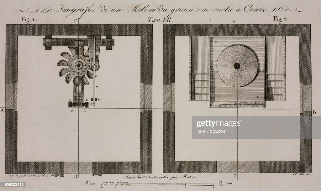 Plans of a grain mill , engraving by A Nini after a drawing