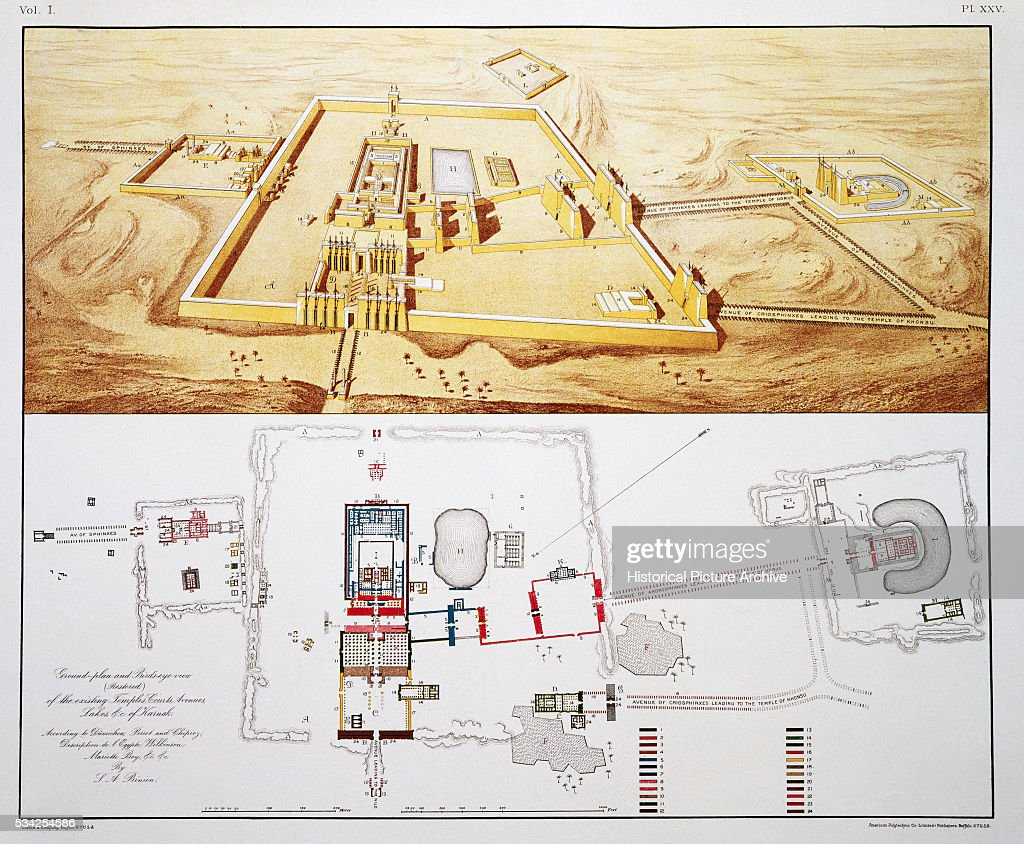 Plans of Temples of Karnak with Illustration Depicting Aerial View on jonesboro map, medora map, aswan map, hillsboro map, polaris map, northstar map, sinai peninsula map, rosetta map, avengers map, enclave map, mandarin map, fairfield map, ramesseum map, giza map, temple of amun map, cyprus map, valley of the kings map, hamilton map, pithom map, homer map,