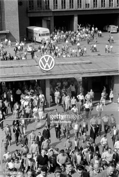 Plant 1962 - VW plant, Wolfsburg, 1962. VW Beetle production. Shift change at Volkswagen Factory in Wolfsburg .