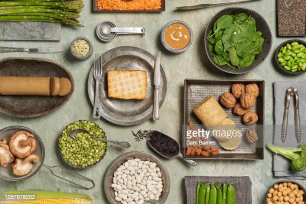 plant based protein - prato de soja - fotografias e filmes do acervo
