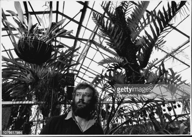 Plant Collectors John Forlonge of the Royal Botanic Gardens with some exotic plants he has collected hanging from roofJohn Forlonge with a Thayeria...