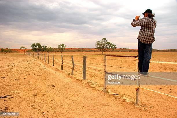 Plant ecologist Paul Foreman photomonitoring an overgrazed pasture near a water point in Georgina gidgee woodland Landscapes like this will show the...