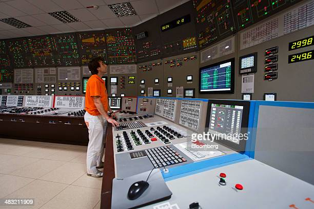 A plant engineer monitors information screens in the control room at the Dukovany nuclear power plant operated by CEZ AS in Dukovany Czech Republic...
