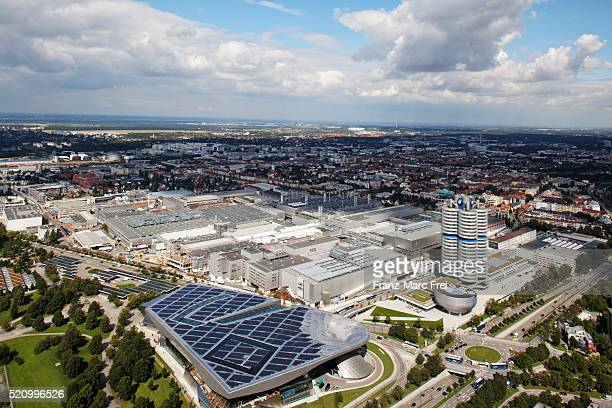 bmw plant, the tower with offices the museum and the newest show room designed by coop himmelb(l)au - bmw stock pictures, royalty-free photos & images