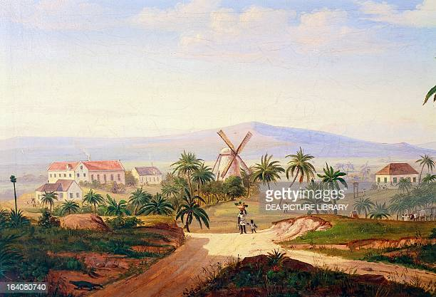 Plantation with a mill and a sugar refinery on Saint-Croix Island, which belonged to Denmark until 1917. Virgin Islands, 19th century. Helsingor,...
