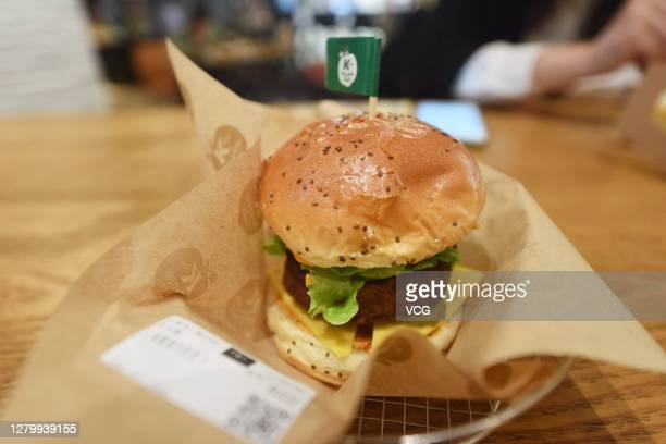 A plantbased burger is seen at a KFC store on October 12 2020 in Hangzhou Zhejiang Province of China