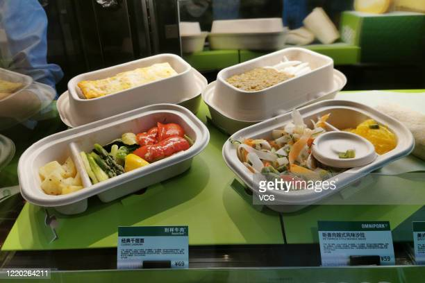 Plant-based meat dishes are seen offered at a Starbucks store on April 22, 2020 in Shanghai, China. Starbucks launches plant-based meat menu in China.