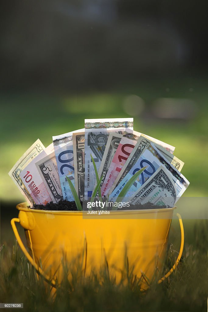 Planted Dollars Euros And Green Shoots Stock Photo