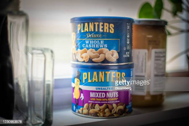 Planters Whole Cashews and Mixed Nuts arranged in Hastings-On-Hudson, New York, U.S., on Wednesday, Feb. 3, 2021. Kraft Heinz Co. Is nearing a deal...