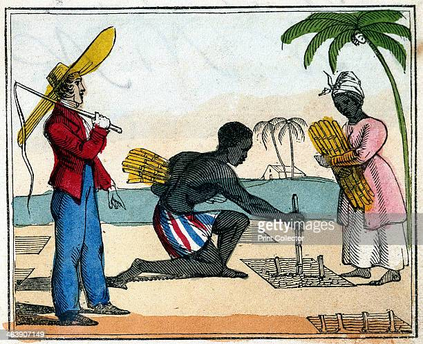 'Planting' 1826 Black slaves working planting sugar cane The man is kneeling and planting the cane which the woman brings to him The overseer stands...