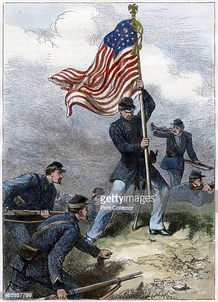 Planting the Union flag on a bastion Siege of Vicksburg 1863 Scene from the American Civi War Handcoloured later