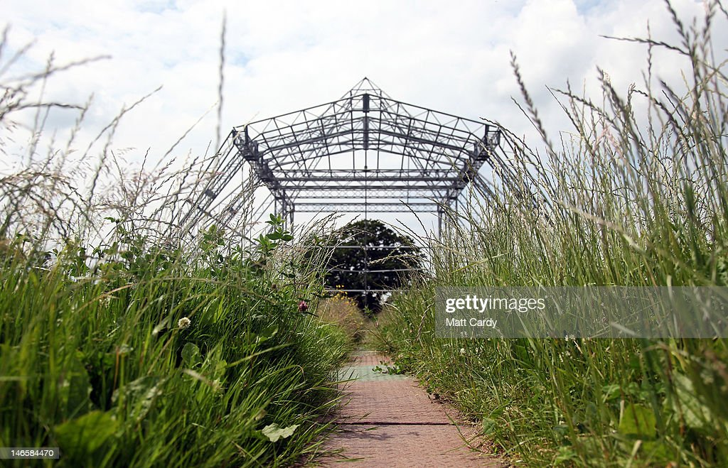 Plants grow in a field of uncut grass in front of the skeleton of the main Pyramid Stage at the Glastonbury Festival site at Worthy Farm, Pilton on June 20, 2012 near Glastonbury, England. Today would have been the day that the gates would have opened for what has become Europe's biggest music festival, but because of the London 2012 Olympics it was decided by the organisers to take this year off. However, this week it was announced that the festival - which started in 1970 when several hundred festival-goers paid 1 GBP to watch Marc Bolan and has now attracts more than 175,000 people over five days - will feature in a mosh-pit style tribute in the opening ceremony of the London 2012 Olympic Games. The Festival will return in June 2013.