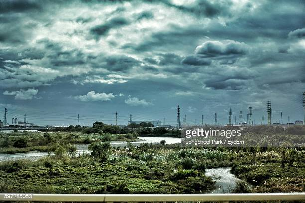 plants growing on field by electricity pylons against sky - 兵庫県 ストックフォトと画像