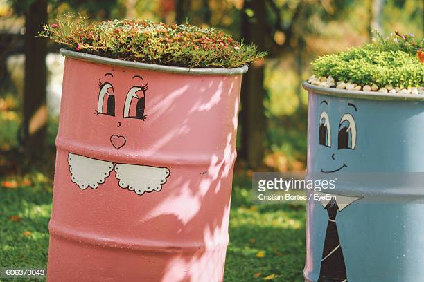 plants growing on painted metal barrels in garden - drum container stock photos and pictures