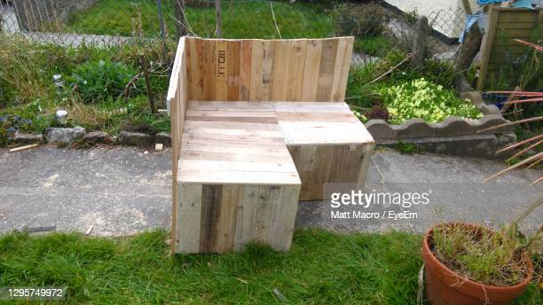 plants growing on wood - pallet industrial equipment stock pictures, royalty-free photos & images