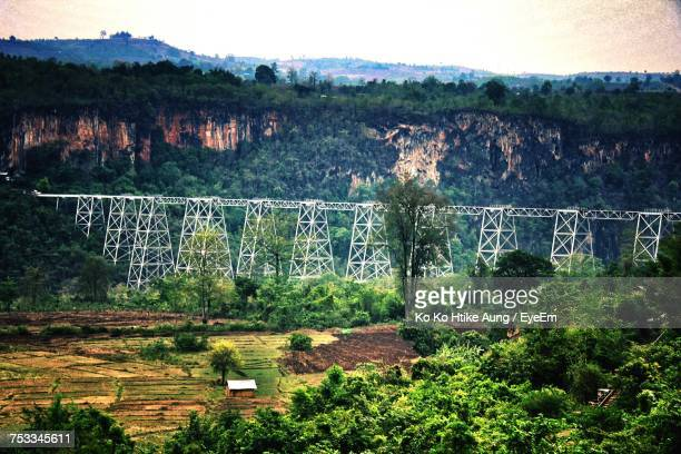 plants on landscape against sky - ko ko htike aung stock pictures, royalty-free photos & images