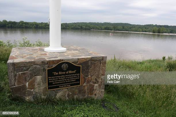 A plaque along the Potomac River near the 15th green is shown during Round 3 of the Senior PGA Championship at Trump National Golf Club on May 27...