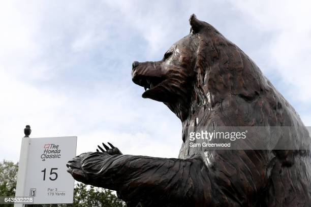 A plaque and statue commemorating The Bear Trap as seen during a practice round prior to The Honda Classic at PGA National Resort Spa Champions...