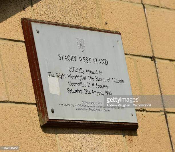 A plaque at Lincoln City's Sincil Bank Stadium in memory of those who lost their lives in the Bradford Fire prior to the Sky Bet League Two match...