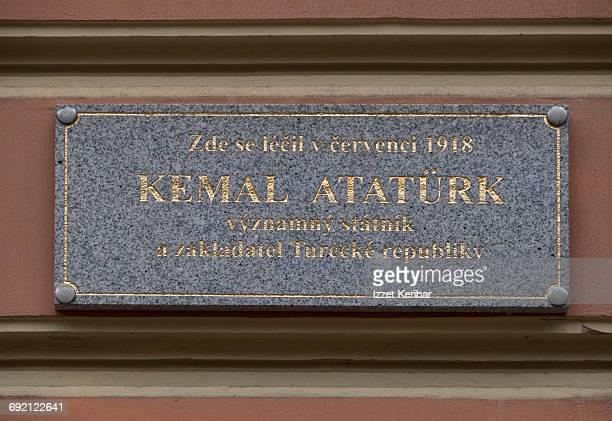 Plaque attesting Ataturk's visit Karlovy vary