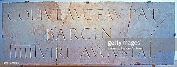 Plaque bearing Latin inscription found in the Roman city Barcelona Spain 2nd Century AD
