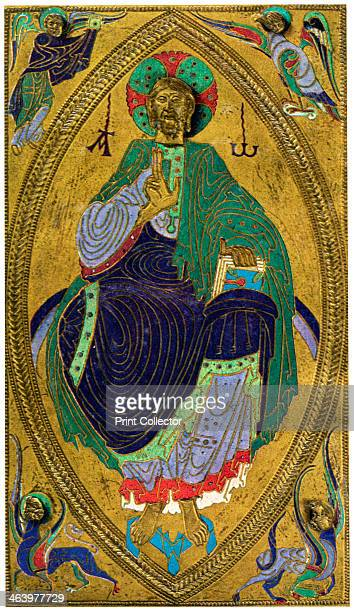 Plaque binding champlevé enamel on copper 12th century Found in the collection of the Musee de Cluny A print from the L'Illustration 1931