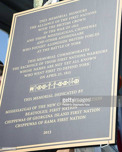 Plaque celebrating alliance of First Nations with British Crown during the War of 1812. The City of Toronto and the Canadian Armed Forces commemorate...