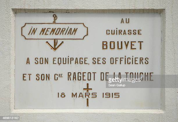 Plaque commemorates the French battleship Bouvet and its crew of 600 sailors who perished when the Bouvet struck a mine in the Dardanelles strait and...