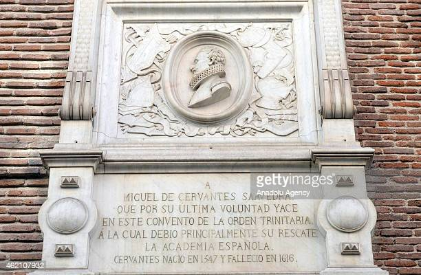 A plaque commemorating Cervantes on the Convent of Trinitarians in Madrid Spain on January 24 2015 Miguel de Cervantes considered to be Spains...