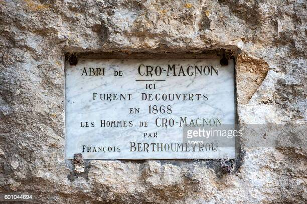 Plaque commemorating the discovery of Cro Magnon man in 1868 by Francois Berthoumeyrou at the Abri de CroMagnon Les EyziesdeTayacSireuil Dordogne...