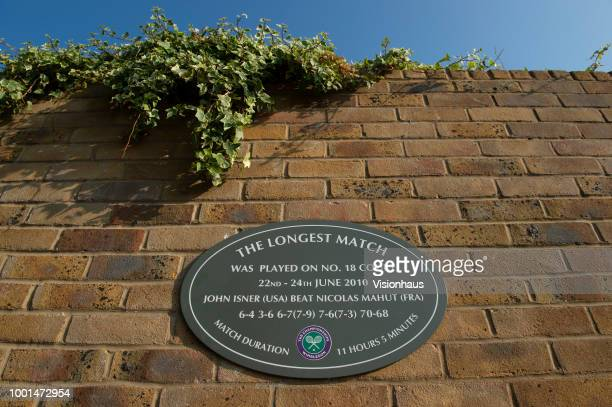 Plaque commemorating the longest match in Wimbledon history between John Isner and Nicolas Mahut on day twelve of the Wimbledon Lawn Tennis...