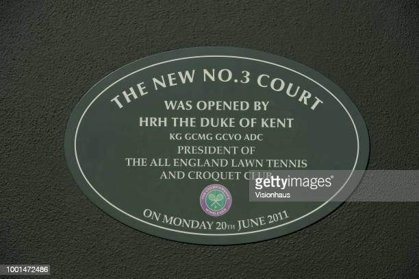Plaque commemorating the officlal opening of No3 court on day twelve of the Wimbledon Lawn Tennis Championships at the All England Lawn Tennis and...