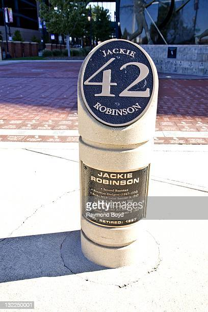 """Plaque commemorating the """"retired"""" number of Brooklyn Dodger baseball player Jackie Robinson, sits in Champions Plaza at U.S. Cellular Field in..."""