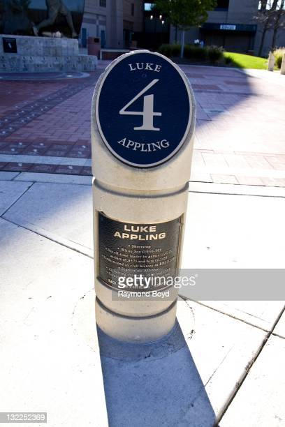 """Plaque commemorating the """"retired"""" number of Chicago White Sox baseball player Luke Appling, sits in Champions Plaza at U.S. Cellular Field in..."""