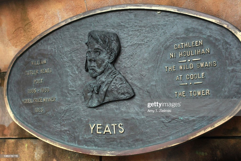 A plaque dedicated to Irish poet William Butler Yeats (1865 - 1939) in the Literary Parade of sculptures in St Patrick's Park, Dublin, Ireland, 2nd December 2011.