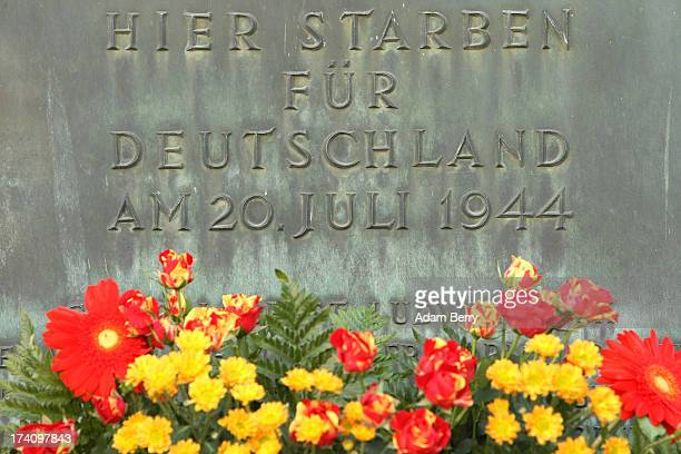 A plaque dedicated to the memory of the planners of the 1944 assassination attempt on Adolf Hitler hangs on the 69th anniversary of the failed...